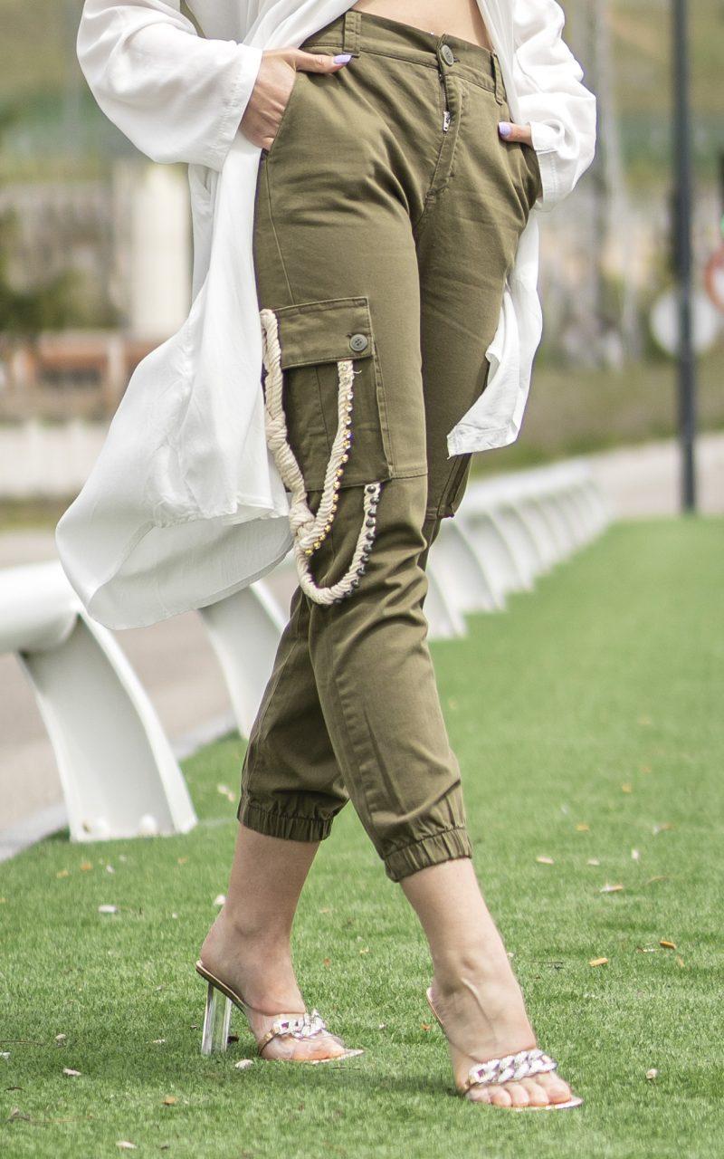 Pantalón tiro alto verde