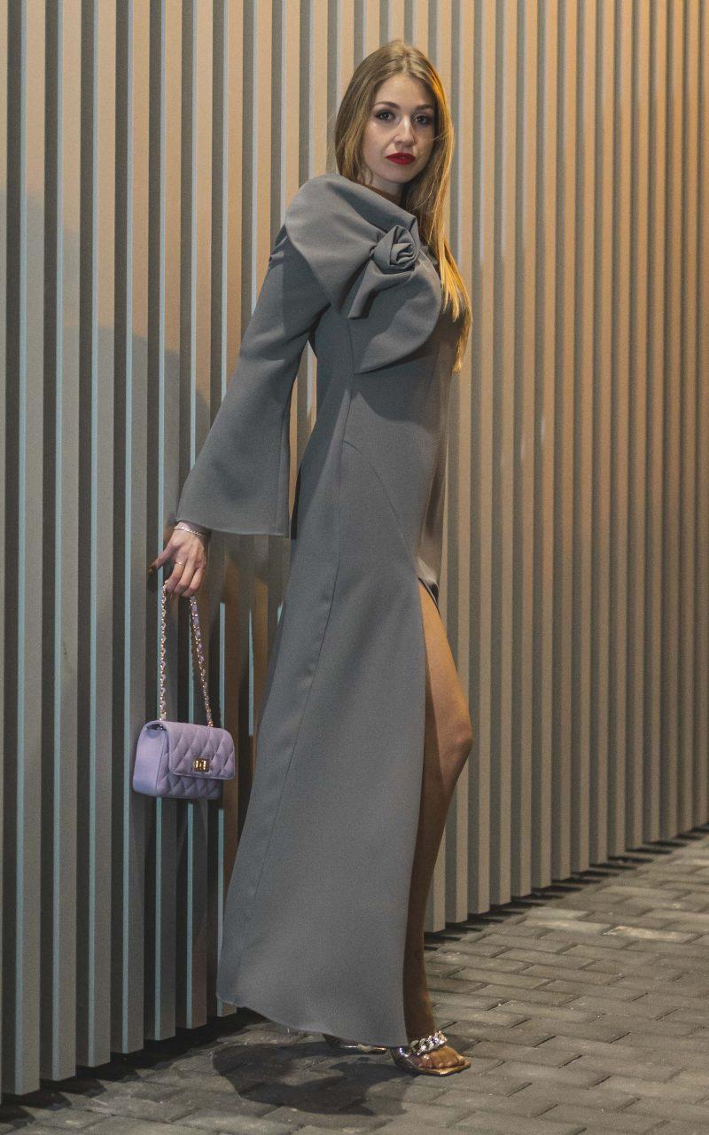 Vestido largo Crepe gris