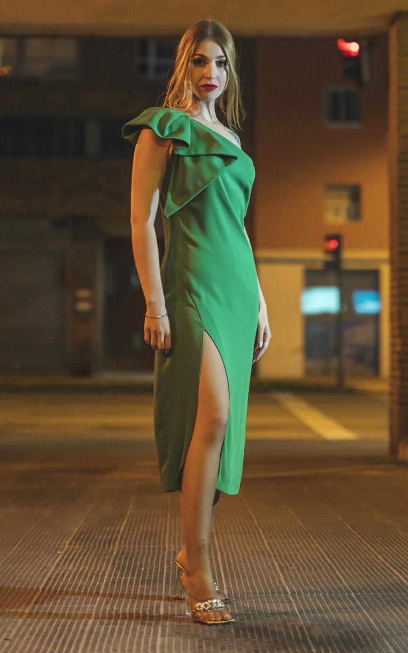 Vestido Verde Crepe